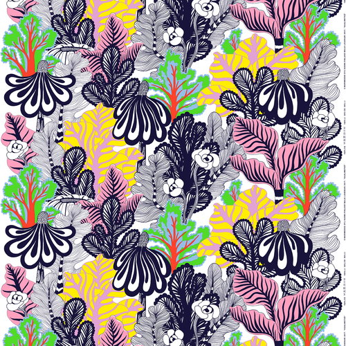 Marimekko Kaalimets� fabric, white-pink-yellow