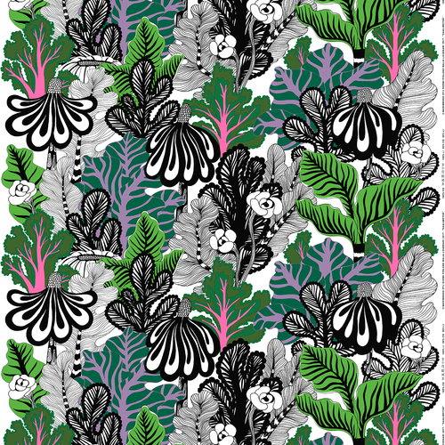 Marimekko Kaalimetsä fabric, white-green-purple