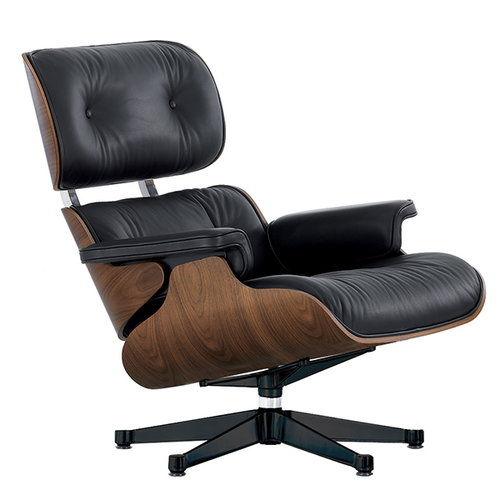 Vitra Lounge Chair, walnut - black leather