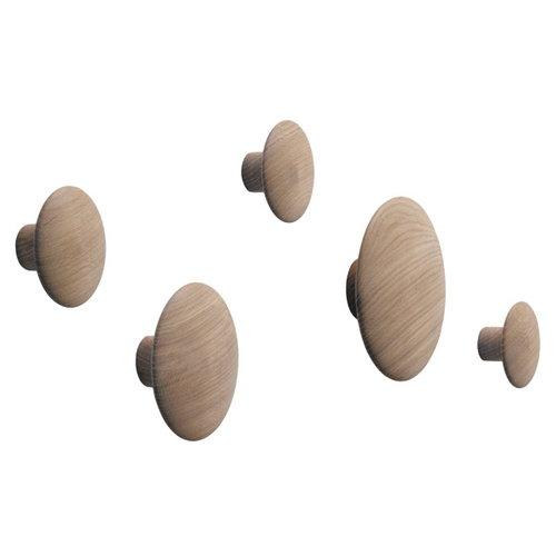 Muuto Ganci appendiabiti The Dots, set di 5, rovere