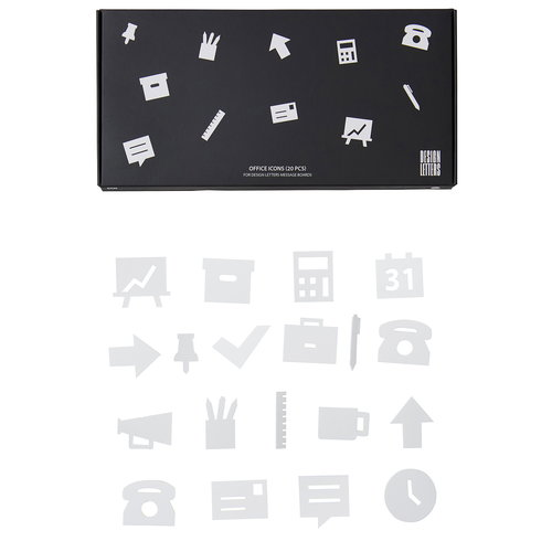 Design Letters Office icons for message board, white