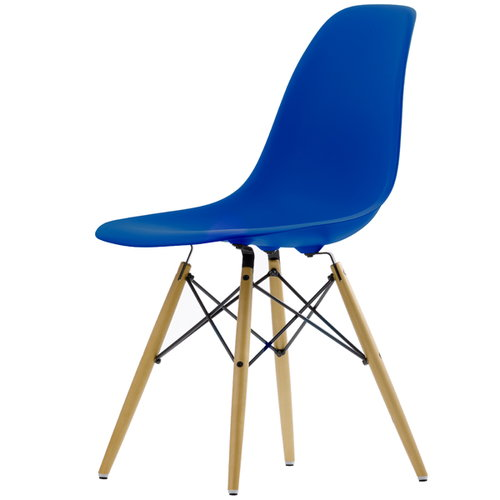 Vitra Eames DSW chair, navy blue - maple