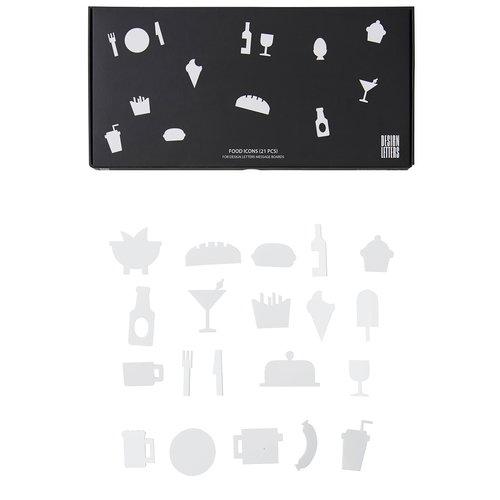 Design Letters Muistitaulun ruokakuviot, valkoinen