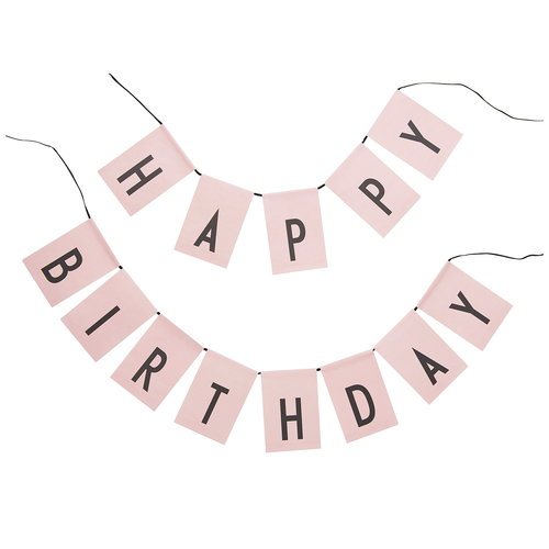 Design Letters Happy Birthday flags, pink