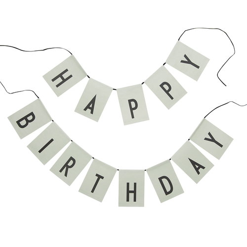 Design Letters Happy Birthday flags, light green