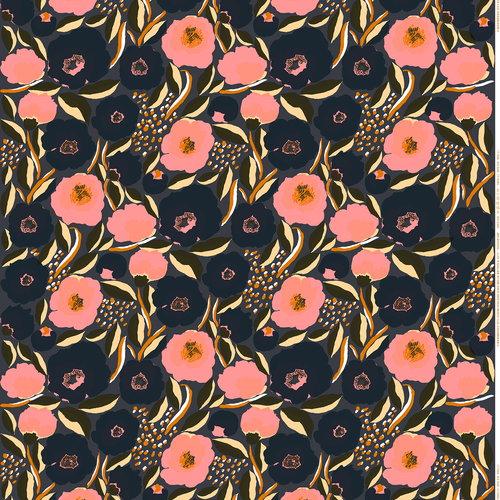 Marimekko Rosarium fabric, dark grey
