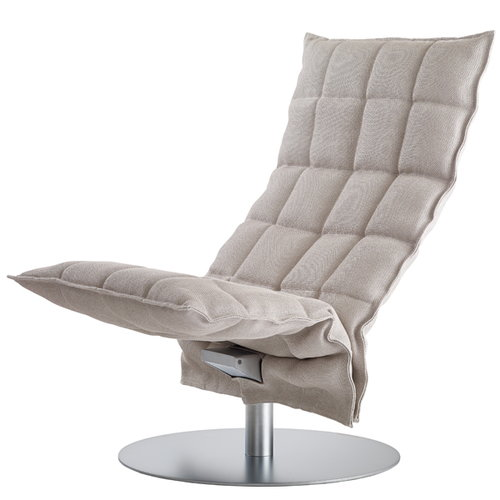 Woodnotes K chair, swivel base, narrow, stone/white