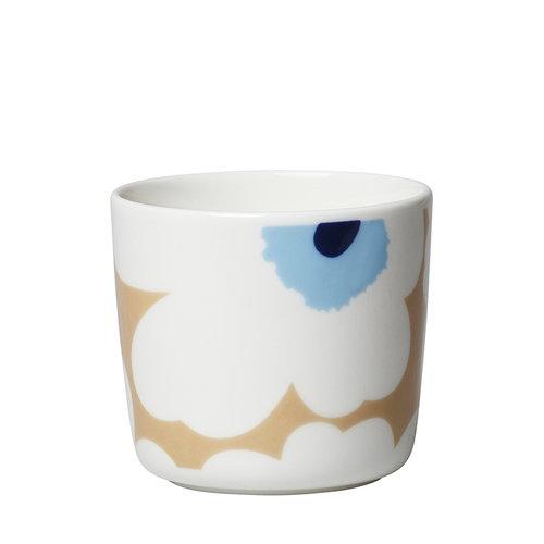 Marimekko Oiva - Unikko handleless coffee cup, 2 pcs, beige-off white-blue