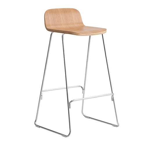 Normann Copenhagen Just Barstool 65 cm, with back rest, oak - chrome