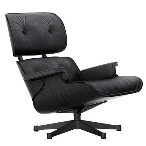 Vitra Lounge Chair nojatuoli, musta saarni - musta nahka