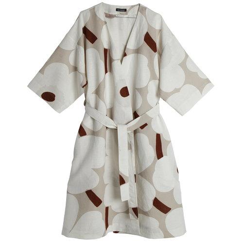 Marimekko Unikko bathrobe, beige - white - brown