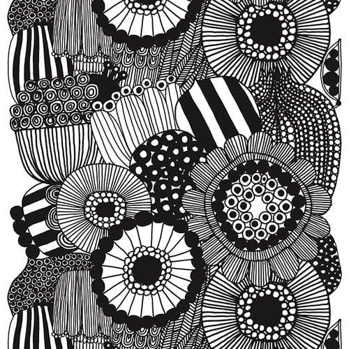 Marimekko Siirtolapuutarha kangas, musta - valkoinen