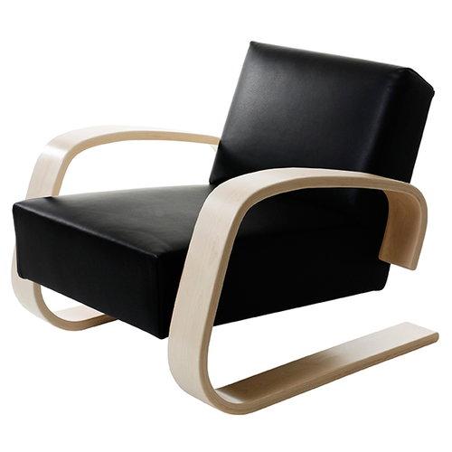 Artek Aalto Tank chair 400, black leather