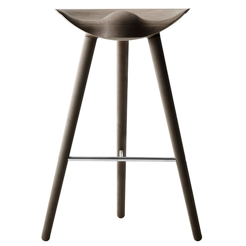 By Lassen ML42 bar stool, 77 cm, brown oiled oak, steel