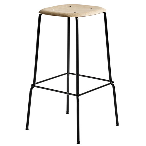 Hay Soft Edge 30 bar stool, 75 cm, black - matt lacquered oak