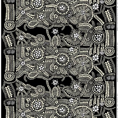 Marimekko N�si� fabric, black-white