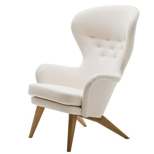 Fasetti Siesta nojatuoli, tammijalat, valkoinen