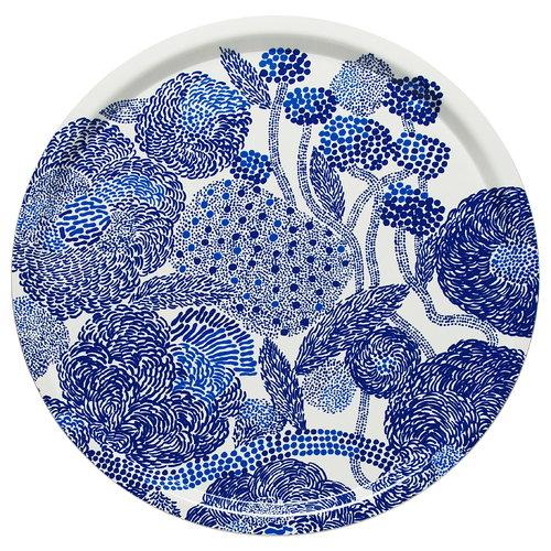 Marimekko Mynsteri tray, white - blue
