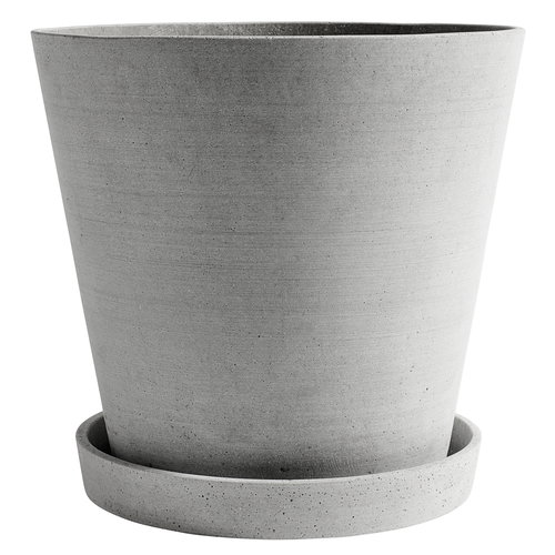 Hay Flowerpot and saucer, XXXL, grey