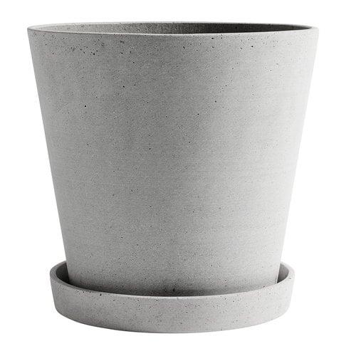 Hay Flowerpot ruukku ja lautanen XXL, harmaa