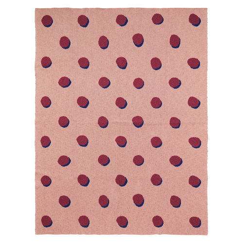 Ferm Living Double Dot torkkupeitto, roosa
