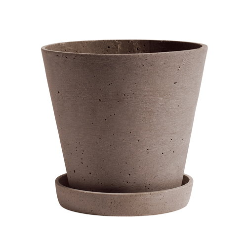 Hay Flowerpot and saucer, L, terracotta