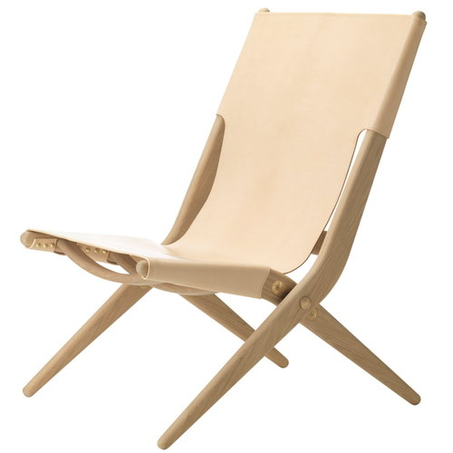 By Lassen Saxe lounge chair, oak/natural leather