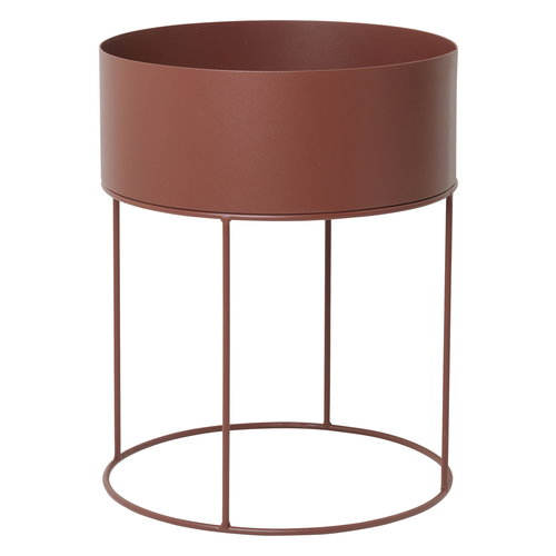 Ferm Living Plant Box, round, red brown