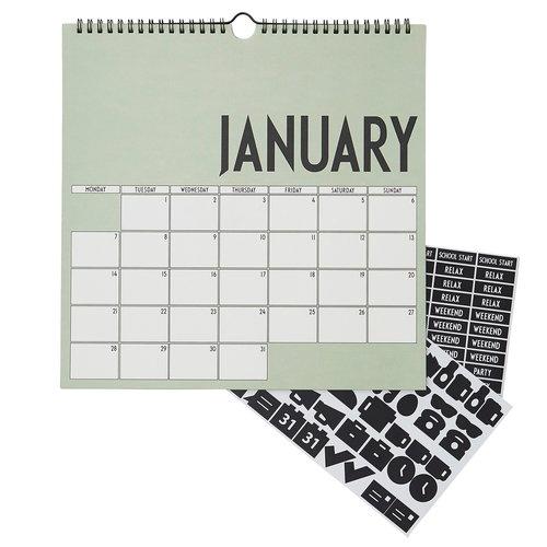 Design Letters Wall calendar 2019, green