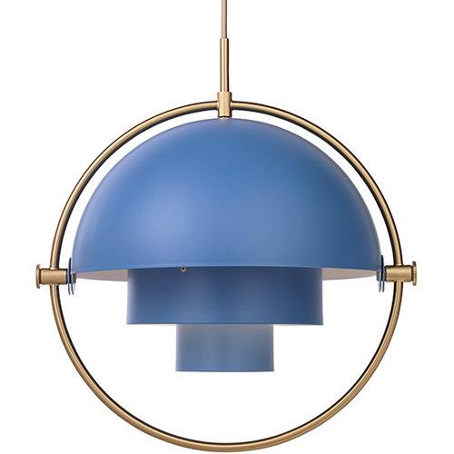 Gubi Multi-Lite pendant, brass - blue