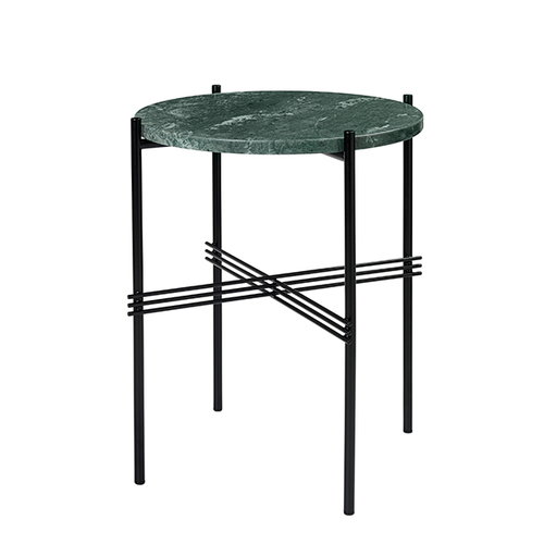 Gubi TS coffee table, 40 cm, black - green marble