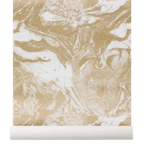 Ferm Living Marbling wallpaper, gold