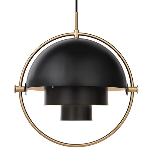 Gubi Multi-Lite pendant, brass - charcoal black