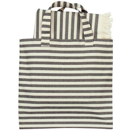 Marimekko Tasaraita bag & fabric set, off white - black