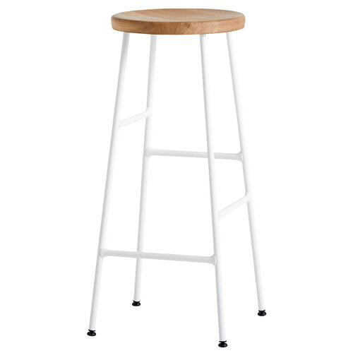 Hay Cornet bar stool, high, cream white - oiled oak