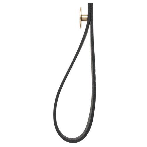 By Lassen Stropp wall hanger 2 pcs, brass/black leather