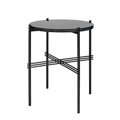 Gubi TS coffee table, 40 cm, black - black glass