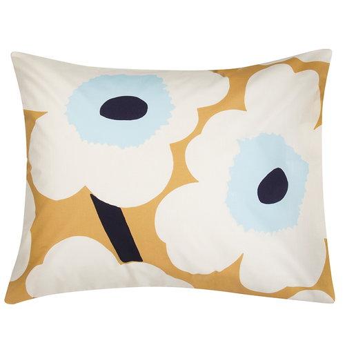 Marimekko Unikko tyynyliina 50 x 60 cm, beige-valkoinen-sininen