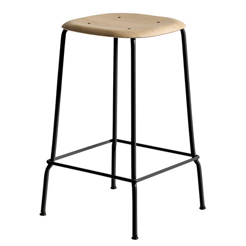 Hay Soft Edge 30 bar stool, 65 cm, black - matt lacquered oak