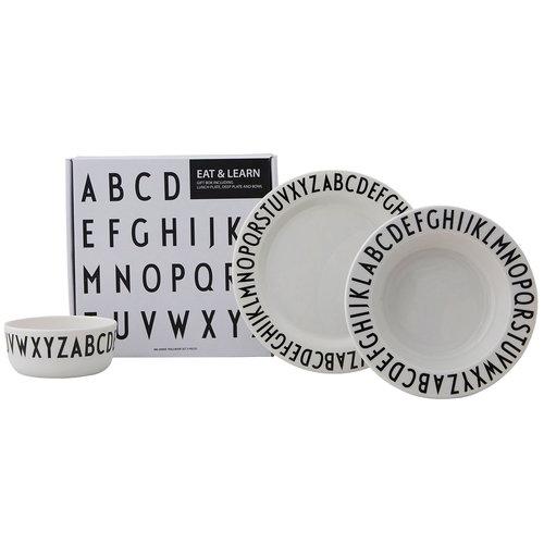 Design Letters Eat & Learn melamine plates, set of 3