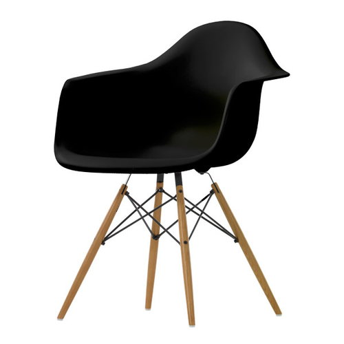 Vitra Eames DAW chair, black - maple
