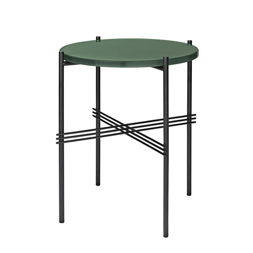 Gubi TS coffee table, 40 cm, black - green glass