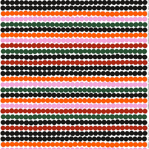Marimekko R�symatto fabric, orange-green-black