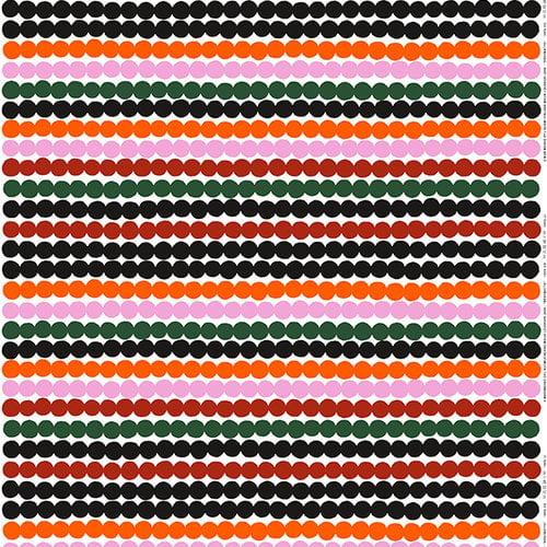 Marimekko Räsymatto kangas, oranssi-vihreä-musta