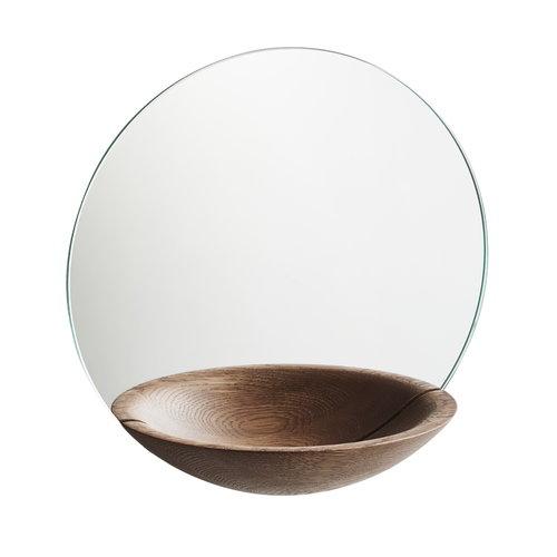 Woud  Pocket Mirror, large, smoked oak