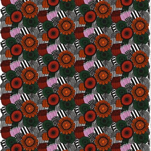 Marimekko Pieni Siirtolapuutarha kangas, oranssi-vihre�