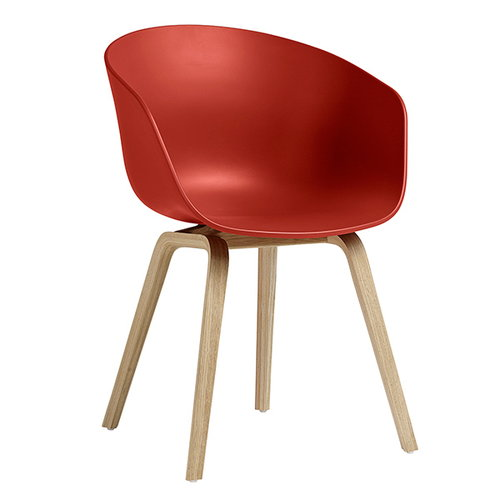 Hay About A Chair AAC22, warm red - matt lacquered oak