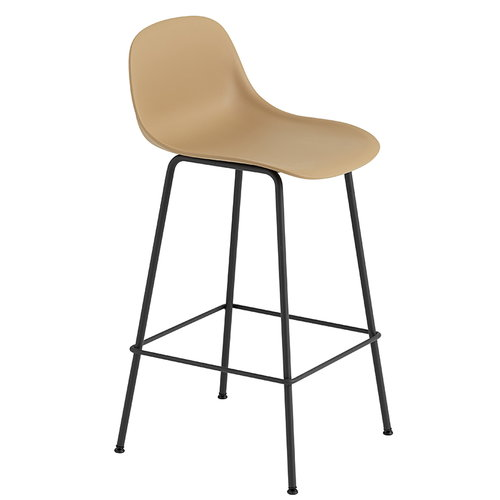 Muuto Fiber bar stool with backrest, tube base, ochre - black