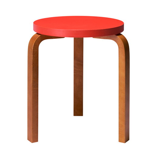 Artek Aalto stool 60, red orange - honey