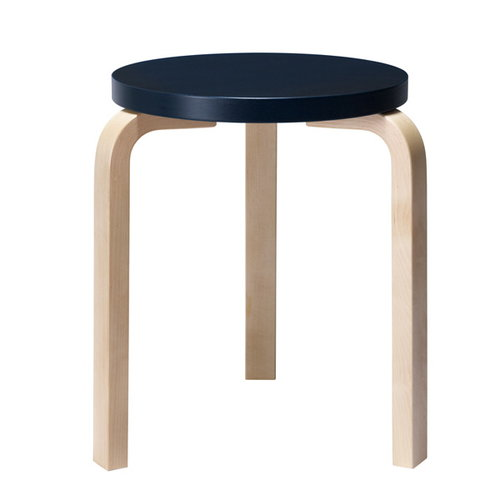 Artek Aalto stool 60, dark blue - birch